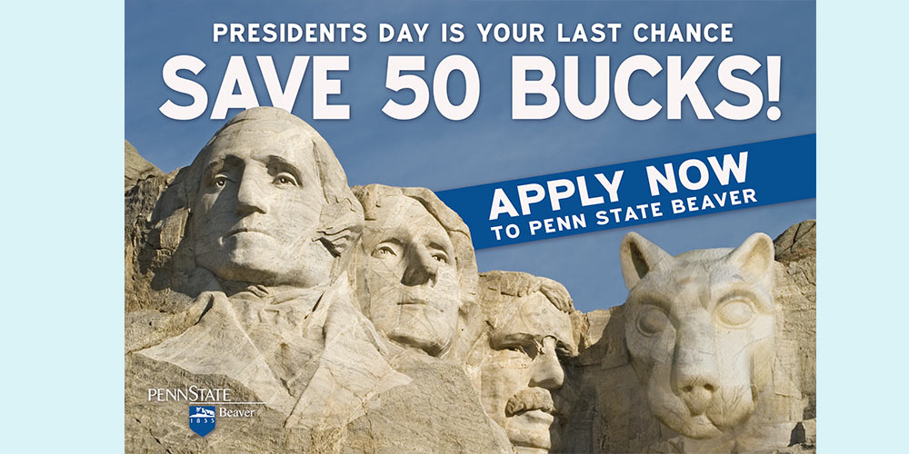 Postcard advertising Presidents Day event.
