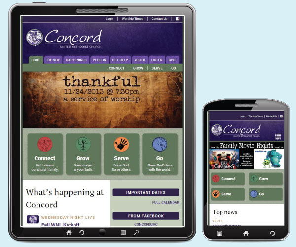 Concord United Methodist Church home page on a tablet and phone