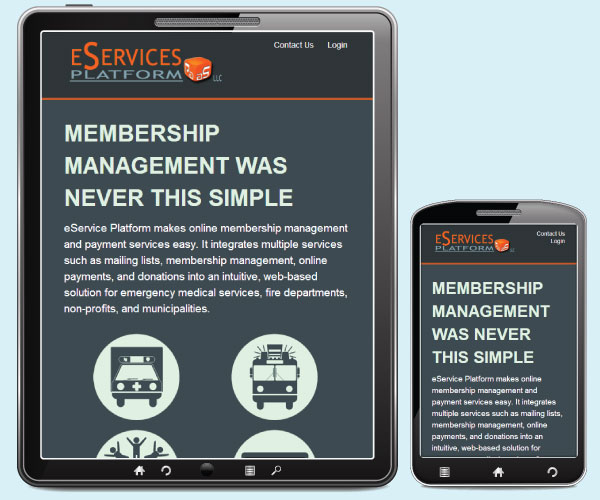eServices PAAS home page on a tablet and phone