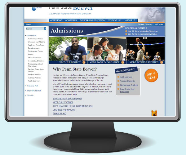 Penn State Beaver admissions page