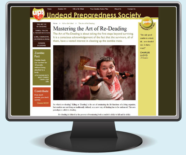 Undead Preparedness Society: Art of Re-Deading page